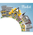 phuket thailand city skyline with color buildings vector image vector image