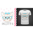 pretty kittty idea for print t-shirt vector image