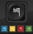 racing flag icon symbol Set of five colorful vector image vector image