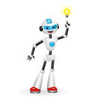 robot pointing at light bulb aha moment concept vector image