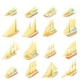 Sailing ship icons set cartoon style vector image vector image