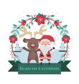 santa and reindeer banner with floral frame vector image