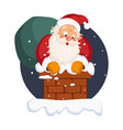 santa claus in chimney on christmas eve winter vector image vector image