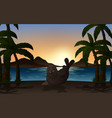 seal in nature background silhouette vector image