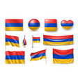 set armenia flags banners banners symbols flat vector image vector image