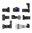 set high resolution action cameras removable lens vector image vector image