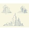 sketches city buildings vector image vector image