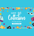 summer objects collection poster vector image
