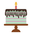 sweet birthday cake with burning candle vector image vector image