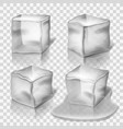 Transparent colorless ice cubes set vector image vector image