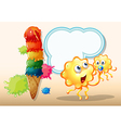Two orange monsters near the big icecream vector image vector image