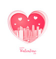 valentines card paper cut heart and los angeles vector image vector image