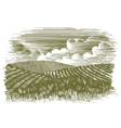 Woodcut Farm Fields vector image vector image