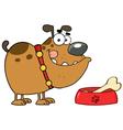 Brown Bulldog With A Bone In His Dish Bowl vector image