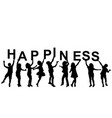 kids silhouettes holding letters with word vector image