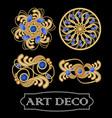 set of gold filigree brooch with blue gems vector image