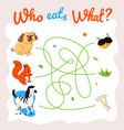 animal food labyrinth learning game vector image