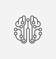 artificial intelligence brain outline icon vector image vector image