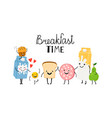 brealfast time characters bread milk and food vector image vector image