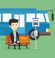 business man waiting at the bus stop vector image vector image