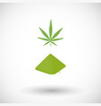 cannabis leaf and powder flat icon vector image vector image