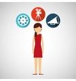 cartoon girl movie icons vector image vector image