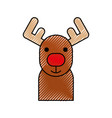 christmas reindeer horned animal decoration vector image vector image