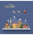 Christmas winter city street with Santa vector image