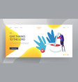 cooking process website landing page tiny male vector image vector image