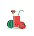 cute kawaii smiling cartoon watermelon juice vector image