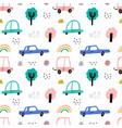 cute kids cars seamless pattern fun vector image