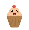 delicious cupcake kawaii style vector image vector image