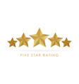 five golden rating star in white background vector image vector image