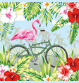 flamingo on bicycle in jungle vector image vector image