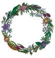 frame with colorful herb and flower vector image