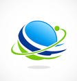 globe planet orbit space abstract logo vector image