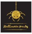 Halloween gold textured spider icon vector image vector image