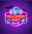 halloween party neon sign with skulls vector image vector image