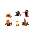 halloween related objects and creatures set vector image vector image