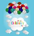 happy children day background origami balloons vector image vector image