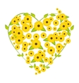 heart flowers yellow vector image
