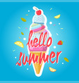 hello summer ice cream cone colorful background vector image