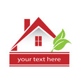 house real estate and green leafs logo vector image