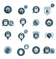House security protection icons set home house vector image