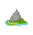 island with high rocky mountain green fir trees vector image vector image