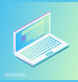 isometric gradiented laptop - opened web site with vector image
