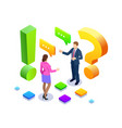 isometric man and woman standing near exclamations vector image