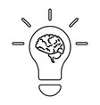 light bulb and brain line icon outline vector image