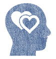 love in mind fabric textured icon vector image vector image