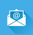mail envelope icon isolated on blue background vector image vector image